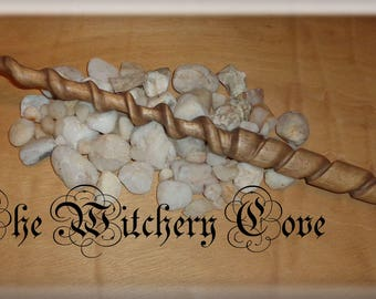 Hand carved Wooden Wand - Spiral Wand - One of a kind - Altar & Ritual Tool made in Scotland - (4C)