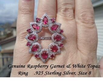 Raspberry Garnet Or Swiss Blue & White Topaz Ring Size 8