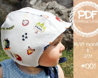 Toddler Brimless Bonnet Sewing Pattern // Baby Bonnet Sewing Pattern // Baby Bonnet Pattern // Ears // Hearing Aid Hat Pattern // Pilot Cap