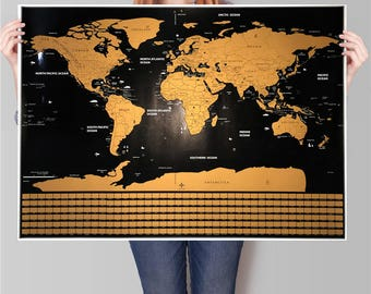 Scratch world map etsy gold and black w separated states and country flags free shipping scratch map gumiabroncs Choice Image