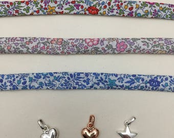 Liberty Tana lawn KATIE & MILLIE tie bracelet with optional silver plated heart or star charm