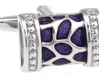 Roman Cufflinks Silver Tone Header Purple Shinning Accents Cuff Links