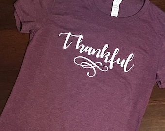 Women's THANKFUL Triblend  Scoop Neck Shirt - Thanksgiving / Fall / November Fitted Short Sleeve Top - Customized Colors