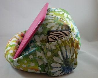 Large Bean Bag Chair For Tablets Tie Dye Rainbow Batik Flowers