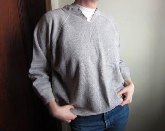 Small 60s Penneys Towncraft Heather Gray Crew Neck Sweatshirt / Raglan Sleeves, Cut Neck, Crewneck