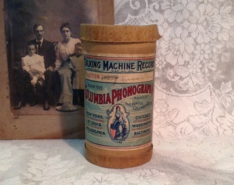 Antique Columbia cylinder wax record and container music roll for Edison phonograph collectible Victorian farmhouse display item home decor