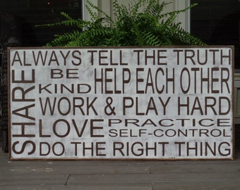Always tell the truth sign,24x48 sign, Kitchen Signs, Fixer Upper Signs, Custom, Farmhouse Signs, Rustic Signs, Wall Hangings, Wall Decor,