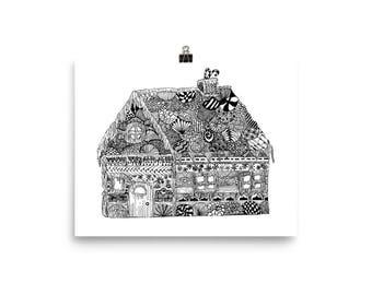 Gingerbread House Zen Patterned Poster