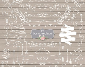 Rustic Hand Drawn clipart laurels, arrows, banners, wreath wedding clipart, arrows clipart, laurel clipart, linen digital pattern