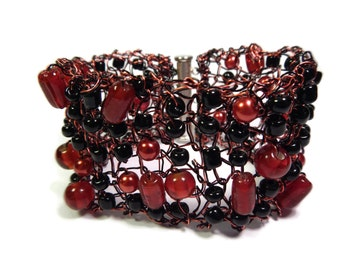 A Ladybird's Luck - Black/Red Bracelet - Hand Knitted Wire Mesh and Glass Bead Cuff - Mishimon Designs