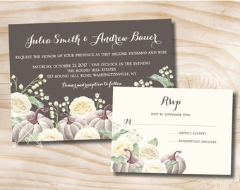 White Pumpkin White Rose Floral Fall Wedding Invitation and Response Card Invitation Suite