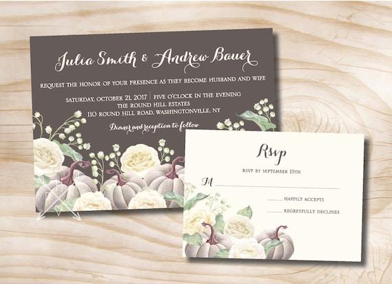 White pumpkin white rose floral fall wedding invitation and stopboris Gallery