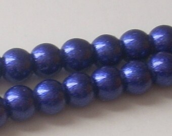 10 glitter Blue 6mm round glass beads