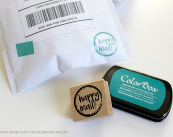 Happy Mail Stamp, Packaging Stamp, Happy Mail circle or square, Mailing Rubber Stamp, Fun Packaging Stamp, Small Business Stamp