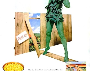 1953 Green Giant Niblets Corn Advertisement Ad Print Poster Nostalgia Typography Magazine Jolly Jack Beanstock Nephilim  Wall Art Home Decor