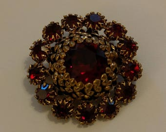 Vintage 1950's Haute Couture Brooch Red Rhinestones & Gold Tone