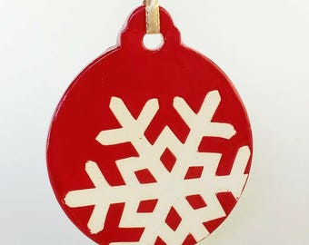 Ceramic Holiday Ornament in Ruby Red