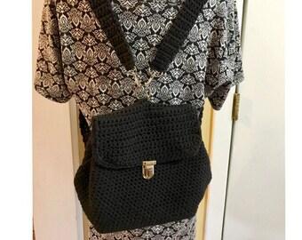 Gift For Her Black Back Pack Classy Handmade Crochet Purse