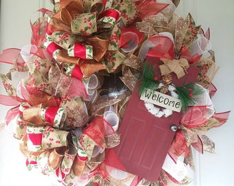 Christmas Wreath, Rustic Christmas Wreath, Merry Christmas Wreath, Front Door Wreaths, Holiday Wreath, Christmas Decor, Holiday Decor