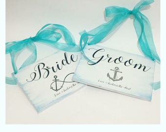 Bride, Groom, Anchor, Nautical or Beach Wedding Chair Signs. Anchor Infinity; Love Anchors the Soul, Personalized Wood Wedding Signs.