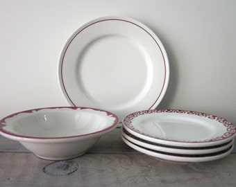 Red and White Restraurant Ware China Plates and Bowl - Instant Collection - 5 Pieces