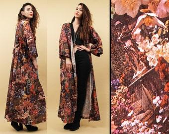 70s Vtg Psychedelic Photoprint KIMONO Robe Jacket / Acid Trip Long Duster Coat / Greek Statue Floral Theme BOHO Hippie / Medium Large