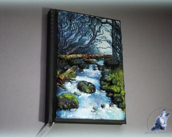 Mountain stream polymer clay journal/notebook cover size A6