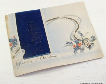 Vintage Christmas Greetings Card, Happy New Year, Mid Century Paper Ephemera, Bible Verse, Sail Ship, Lighthouse, Glitter  (440-14)