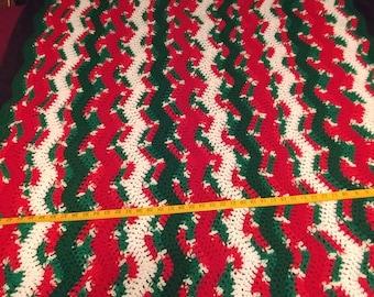 Christmas blanket, Crochet throw, Afghan