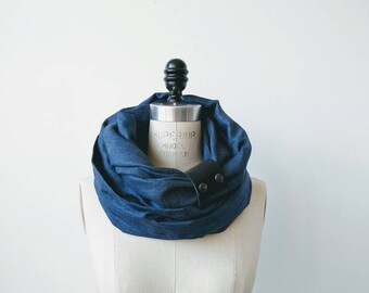Blue indigo linen circular infinity scarf