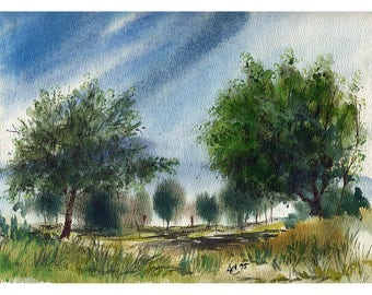 Trees Under A Blue Sky - #19 - 4 Art Cards featuring this watercolor by Anthony Coulson.
