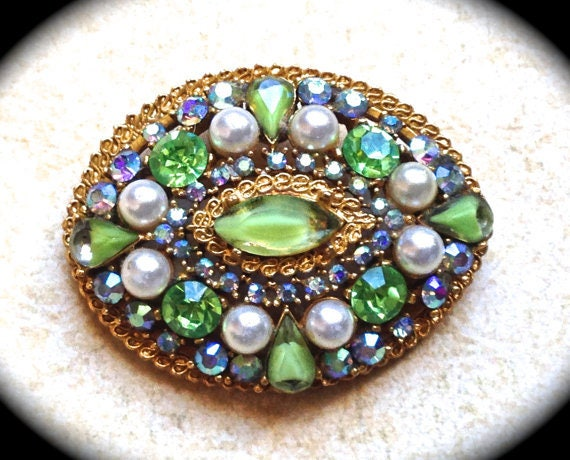 Signed ART Brooch, green Swarovski rhinestone and pearl signed brooch-very unique circa Mid Century