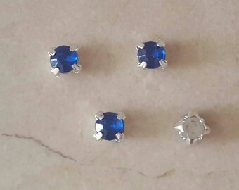 set of 50 appliques 5 mm blue rhinestones