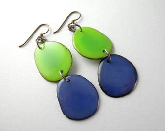 Greenery and Cobalt Blue Tagua Nut Eco Friendly Earrings with Free USA Shipping SALE #taguanut #ecofriendlyjewelry