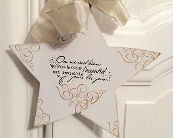 White wood with message hanging star