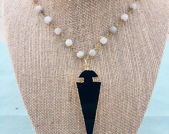 Black Arrowhead Pendant Necklace