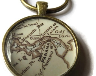 custom antique personalized keychain, sepia toned map keychain, bronze map pendant charm keychains, Dad Gifts, Keychain for Grandpa