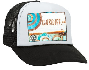 Trucker Hats, CARDIFF SLIDE CA, limited ed. with custom made Pin Back button, One Size Fits All, foam trucker hat, Beach, Surf, Waves, Ocean