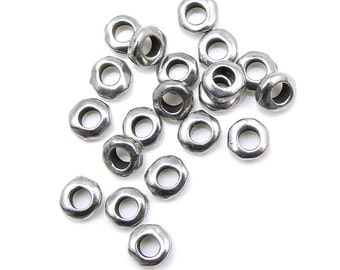 20 Large Hole Beads 5mm Nugget Heishi Antique Pewter Dark Silver Beads Heishi Spacer Beads TierraCast Leather Findings Collection (PS384)