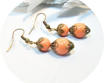 Earrings, Coral Earrings, Antique Bronze, Dangle Earrings, Coral Pearls, Orange Earrings, Bridesmaid Jewelry, Orange Pearls