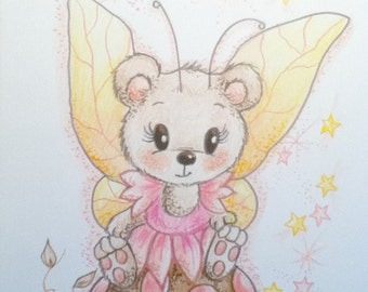 Nursery Art for Kids Pixie Bear Pink and Brown