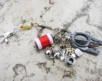 Knitter's Chatelaine: Tea Party - Stitch Markers, Row Counter & Folding Scissors on a Decorative Clasp
