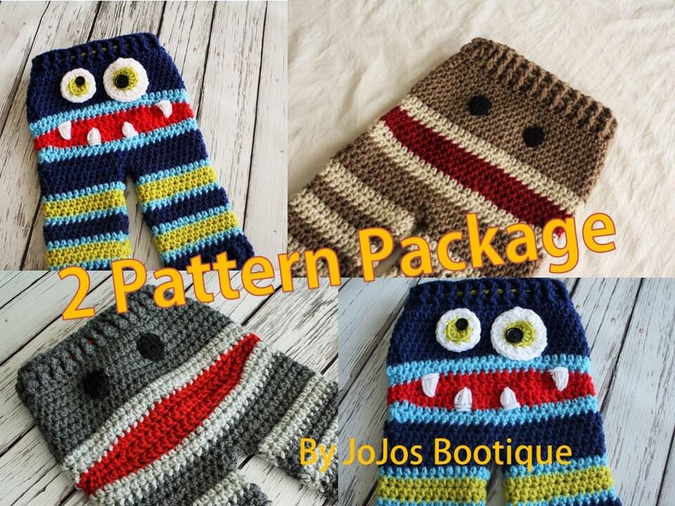 Baby Pants PATTERNS Crochet Monster and Sock Monkey Pants