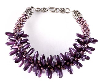 Purple Kumihimo Spiked Bracelet, Czech Dagger Beads, Seed Beads, Japanese Weaving