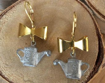 Watering Can & Bow Earrings
