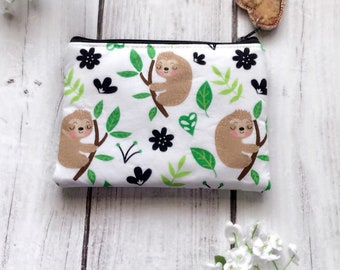 Sleeping sloths zipper pouch, card wallet, makeup bag, pencil pouch, eco friendly choose your size