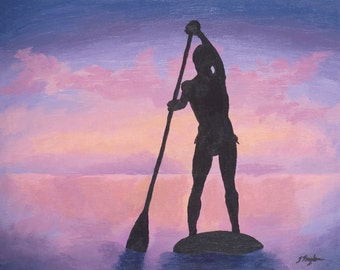 """SUP Art Print ~ SUP Poster ~ """"Stand Up Paddle Boarder at Sunset"""" ~ Stand Up Paddle Art ~ SUP Painting Reproduction"""