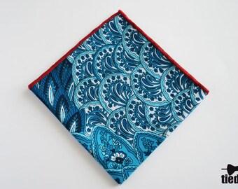 Blue Handmade pocket square, Blue pocket square,  Wedding pocket square, Men's Handkerchief