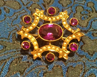 "Gold Amethyst Pearl Brooch Pendant Hallmark 9C and SB & SL2 Victorian 7 Amethysts 40 Pearls 1 1/4"" x 1""  Brilliant Cut Facet Antique"