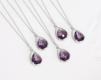 Bridesmaid gifts - Set of 7,8,9,10 - Amethyst purple crystal drop necklace, Gorgeous Drop ,stone in twisted bezel
